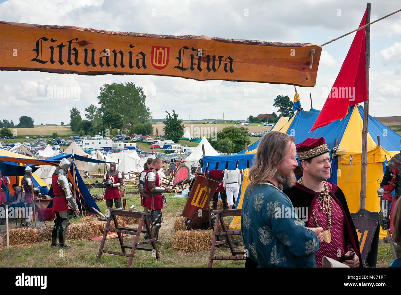 Lithuanian military camp, 601th anniversary of Battle of Grunwald 1410. 4000 reenactors, 1200 knights, 20 thousands Stock Photo