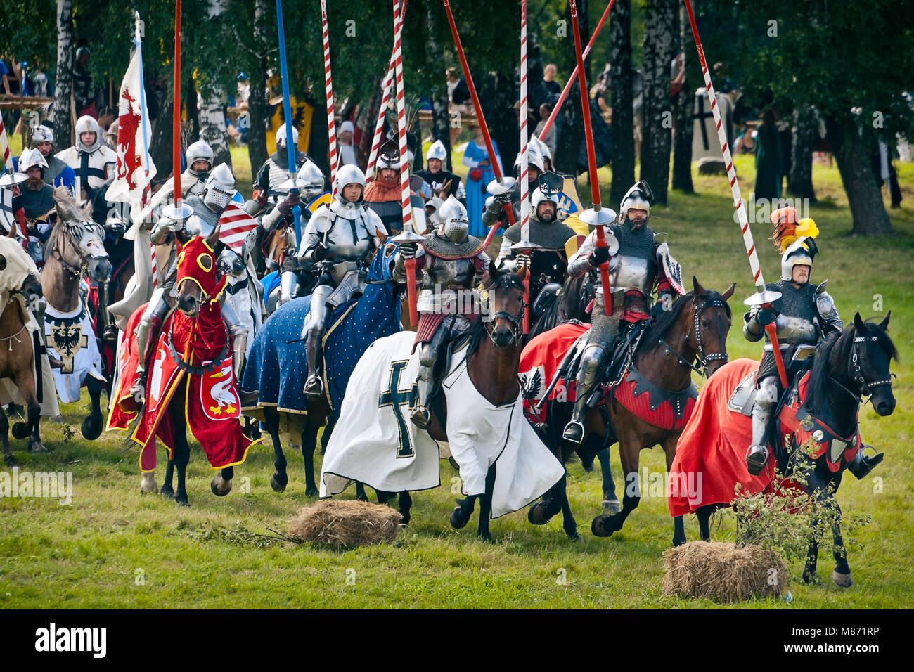 GRUNWALD - July 16: Teutonic horsemen - 601th anniversary of Battle of Grunwald 1410. 4000 reenactors, 1200 knights, Stock Photo