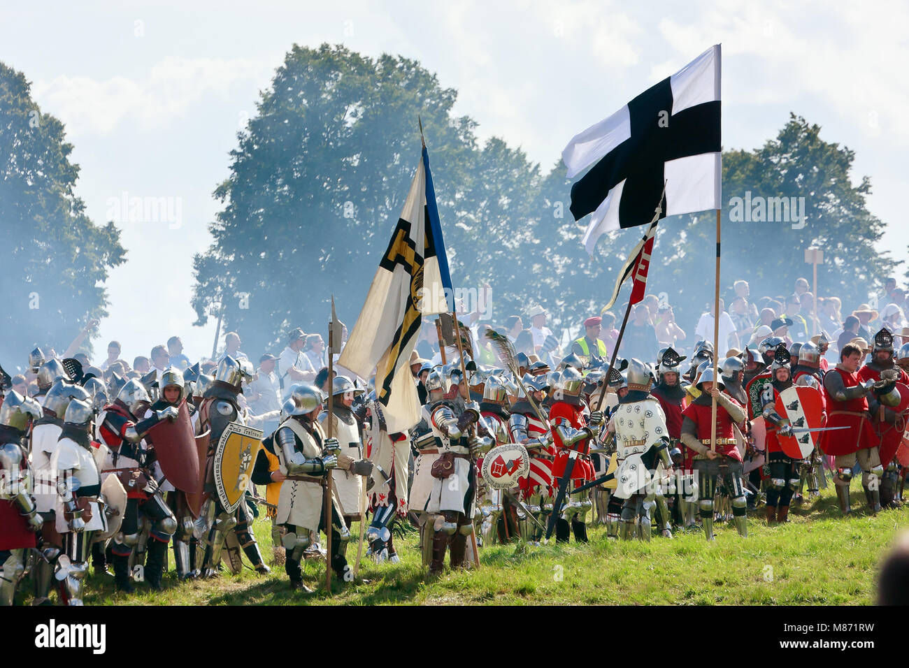 GRUNWALD - July 16: Teutonic Knights troops - 601th anniversary of Battle of Grunwald 1410. 4000 reenactors, 1200 Stock Photo