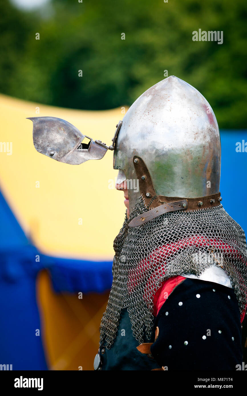Medieval Knight profile with helmets visor open at 600th anniversary of Battle of Grunwald 1410. GRUNWALD TOWN, Stock Photo