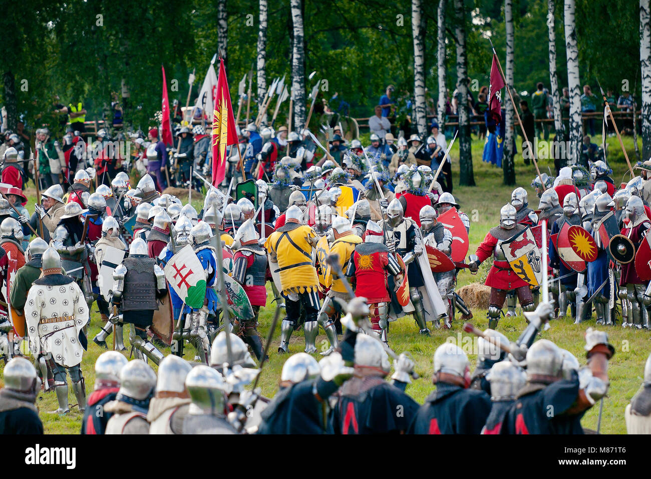 Medieval Knights infantry clash - 601th anniversary of Battle of Grunwald 1410. 4000 reenactors, 1200 knights, near Stock Photo