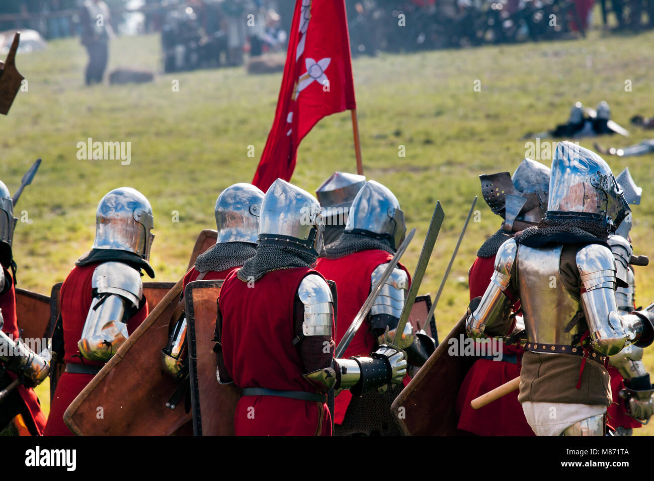 """Heay Armored Medieval Knights ready for the battle at """"Battle of Grunwald 1410"""" reenacting  event. GRUNWALD, POLAND Stock Photo"""