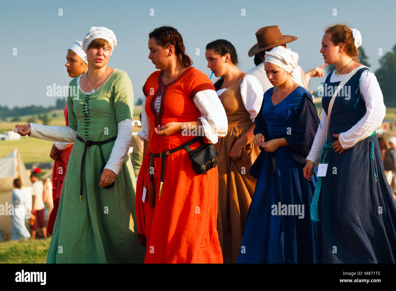 Medieval women costumes during Battle of Grunwald 601th anniversary, 4000 reenactors,1200 knights, near 20k viewers. Stock Photo