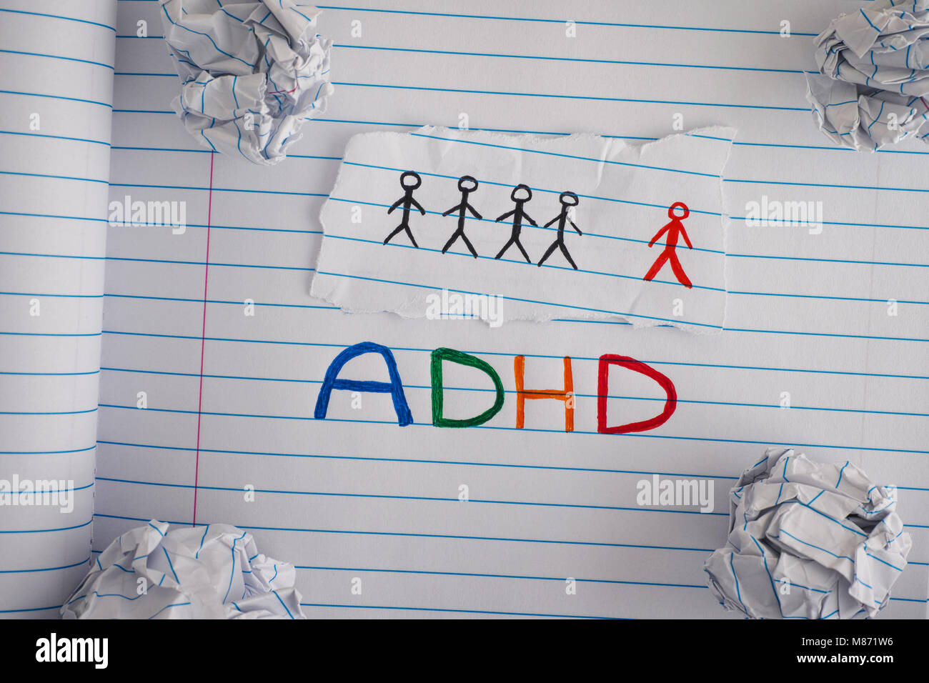 ADHD. Abbreviation ADHD on notebook sheet with some crumpled paper balls on it. Close up. ADHD is Attention deficit - Stock Image