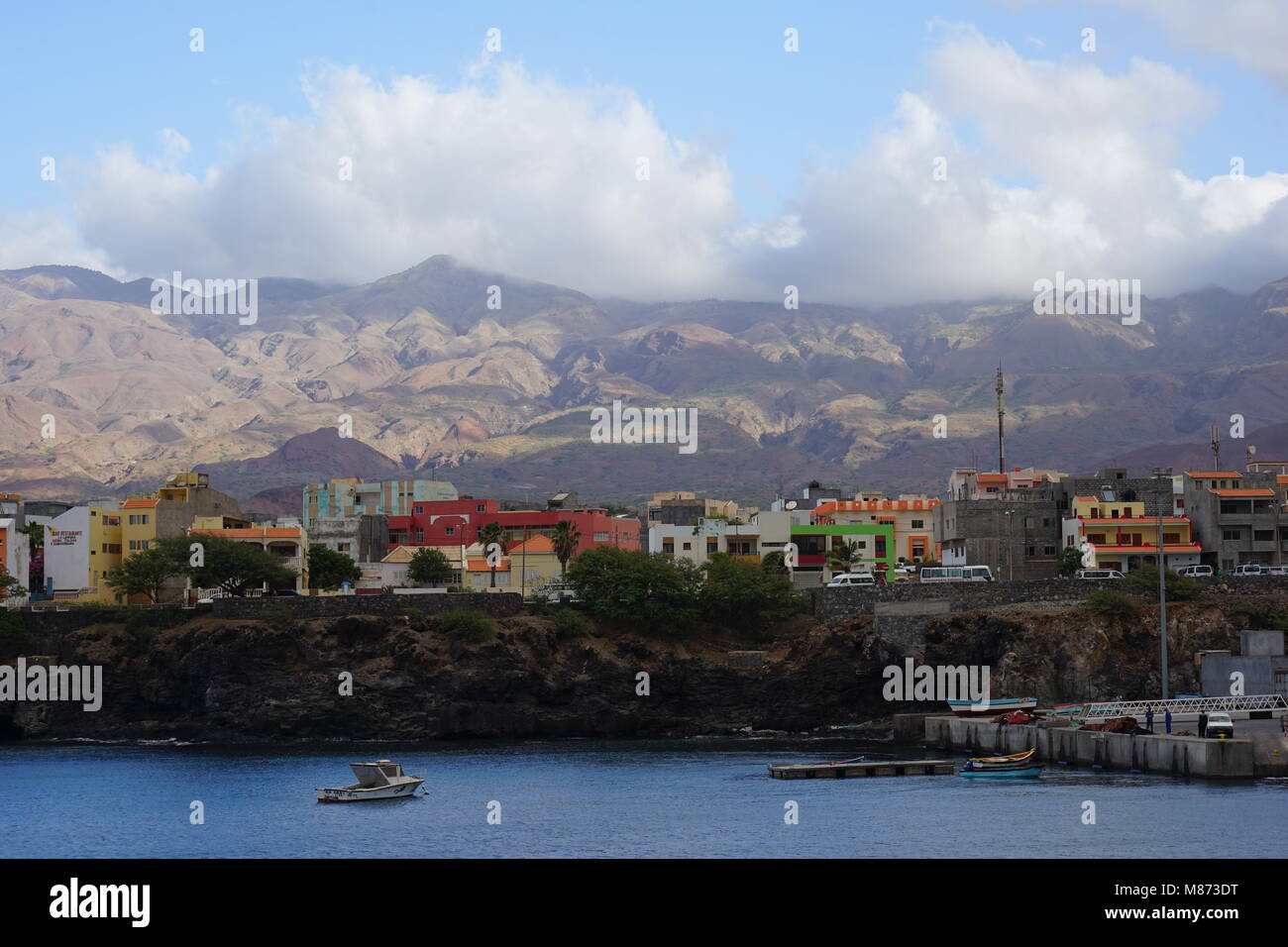 View to Port of Porto Novo, Santo Antao Island, Cape Verde - Stock Image