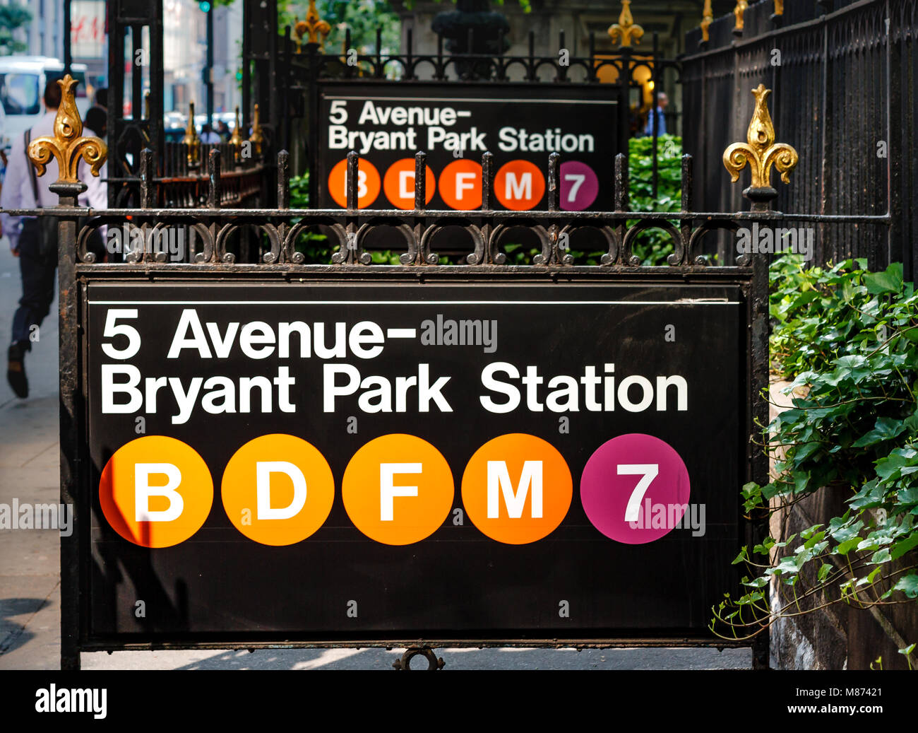 Bryant Park Subway Station Entrance on 42nd Street ,Manhattan ,New York - Stock Image