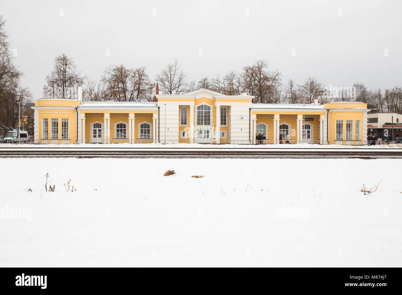 City Cesis, Latvia Railway station, building, peoples and snow. Winter 2018 Travel photo. - Stock Image