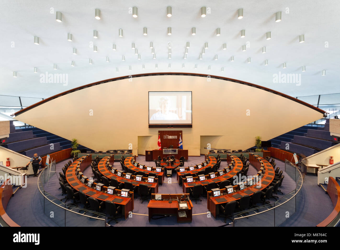 The Council Chambers at Toronto's New City Hall where City Council meetings take  place. Toronto, Ontario, Canada. - Stock Image