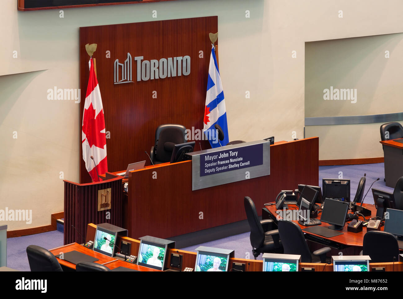 Speaker of Toronto City Council podium within the Council Chambers at Toronto's New City Hall where City Council - Stock Image