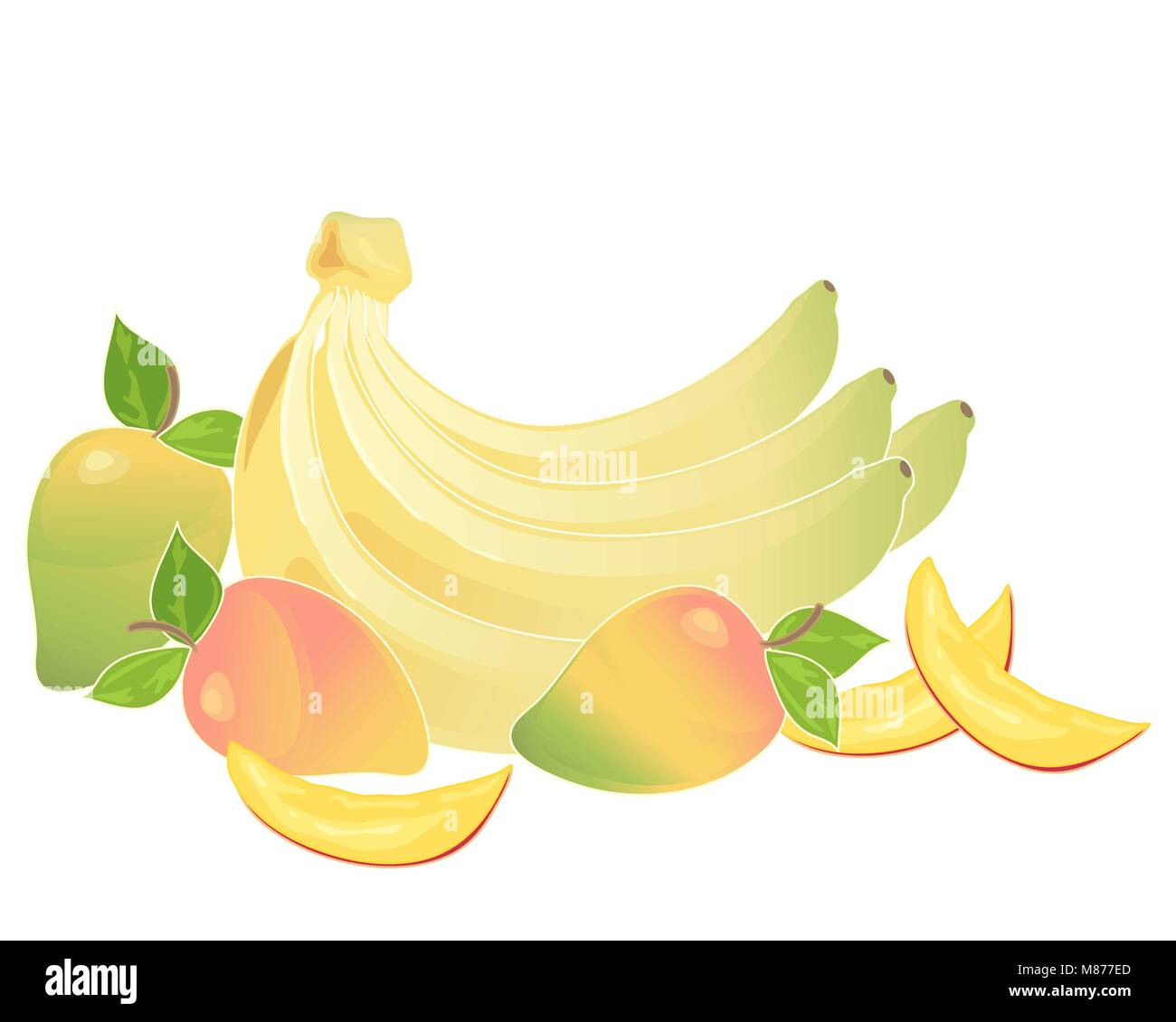 a vector illustration in eps 10 format of a bunch of yellow bananas and some mango fruits with slices on a white - Stock Vector