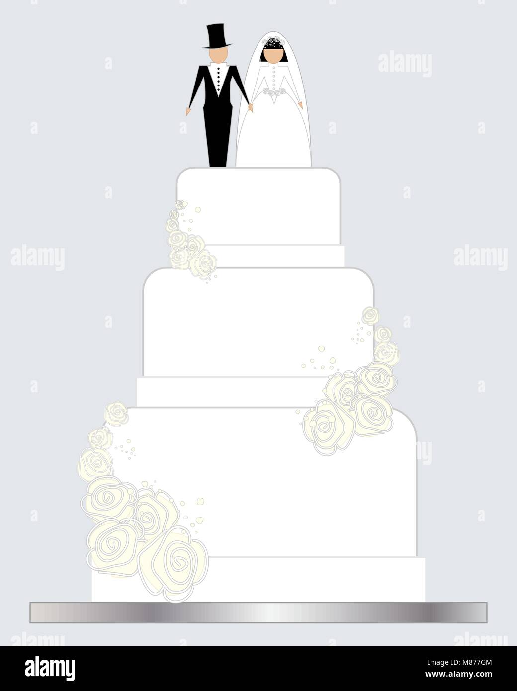 a vector illustration in eps 10 format of a white decorated wedding ...
