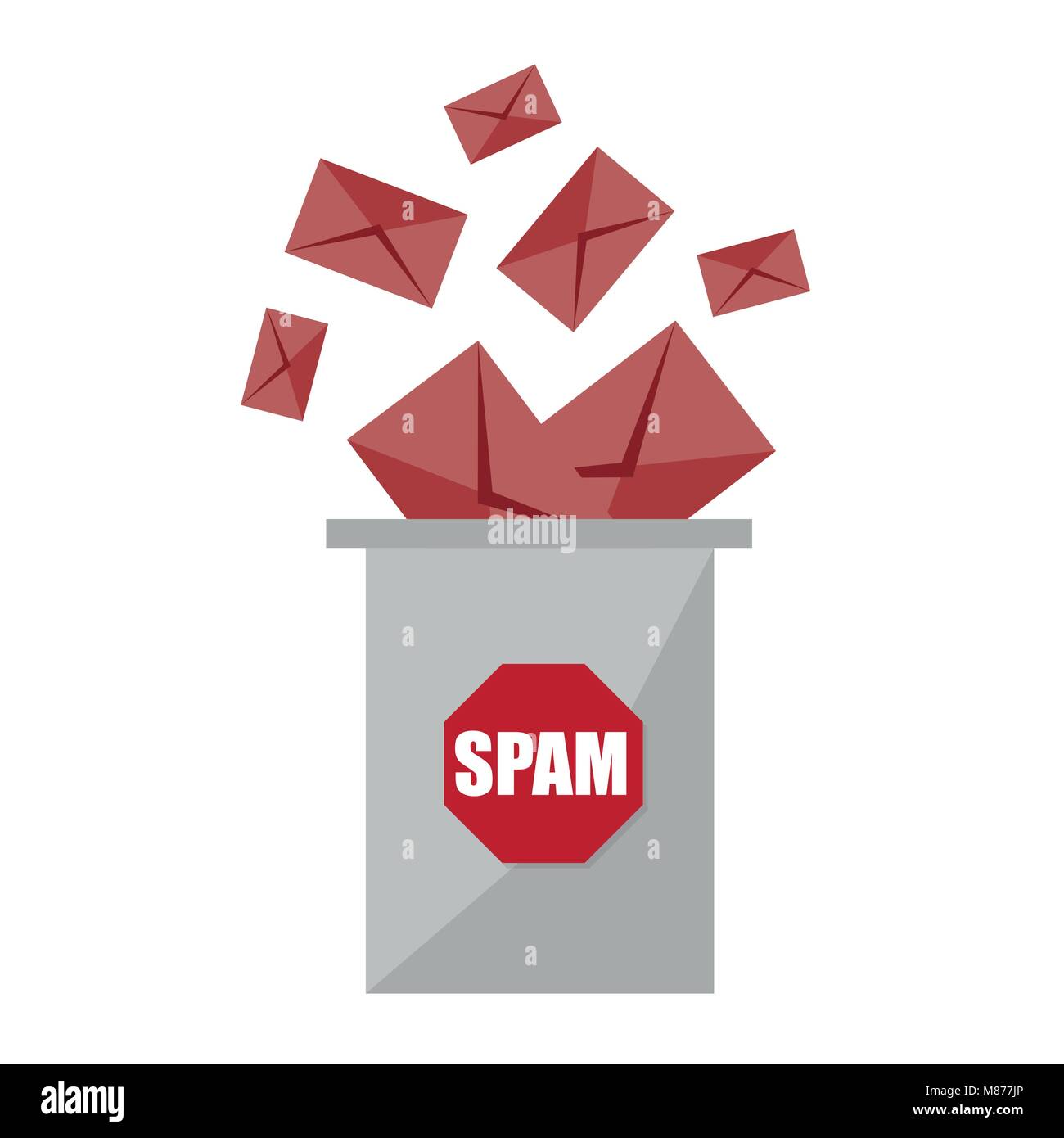 No spam. Stop spam graphic design - creative concept. Envelopes and spam basket - Stock Image