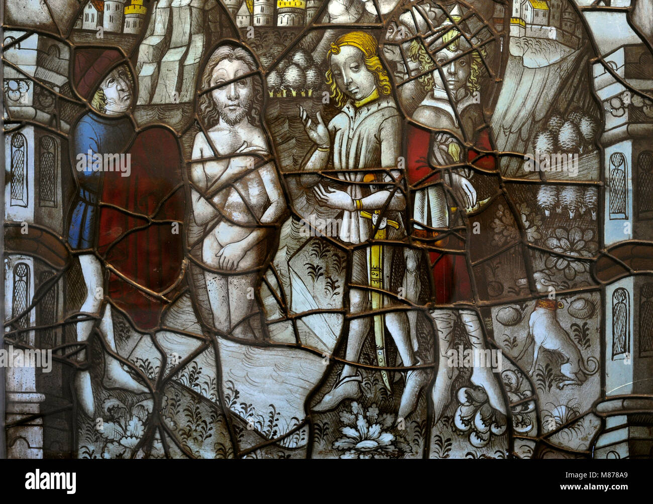 Stained glass from Cloister of the Cistercian Monastery Altenberg, Cologne, Germany, 1465. The Healing of Naaman - Stock Image