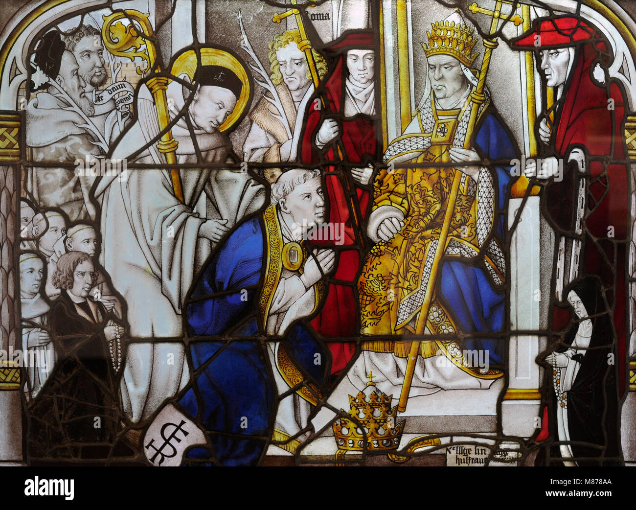 St. Bernard at Second Lateran Council in Rome, convoked by Pope Innocent II in 1193. Stained glass from Cloister - Stock Image
