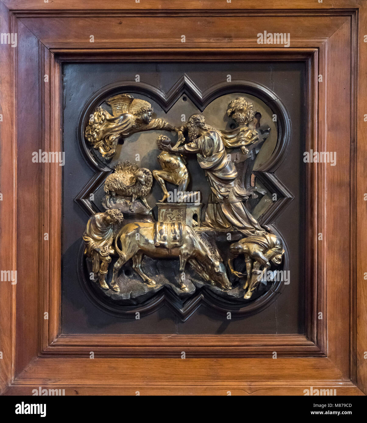Florence. Italy. The Sacrifice of Isaac, 1401/02, by Filippo Brunelleschi, bronze relief, Museo Nazionale del Bargello. - Stock Image