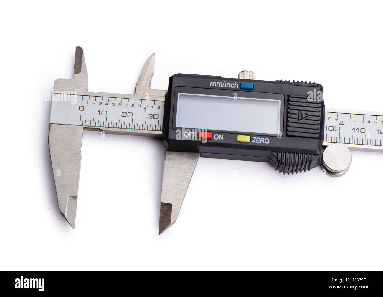 Electronic digital caliper vernier. Isolated on white background. - Stock Image