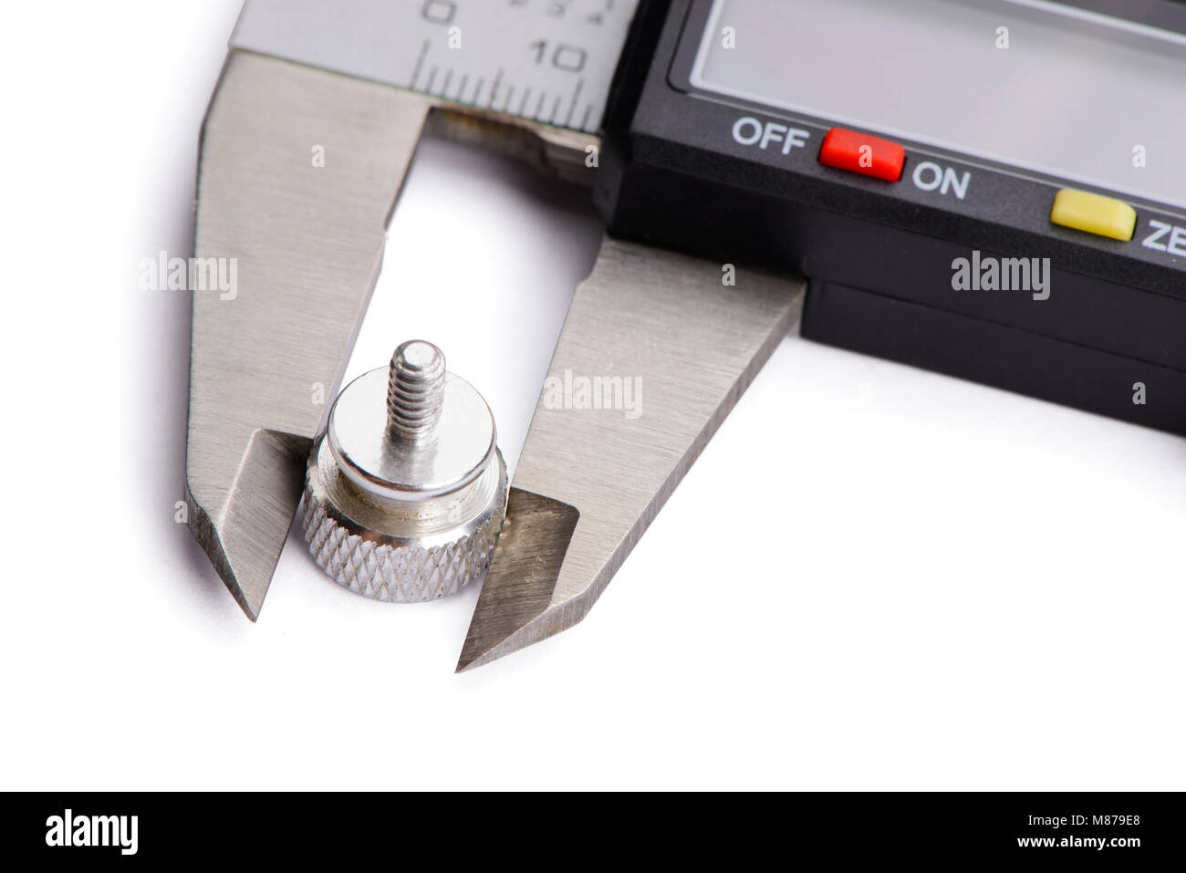 Digital calipers vernier working object. Isolated on white background - Stock Image