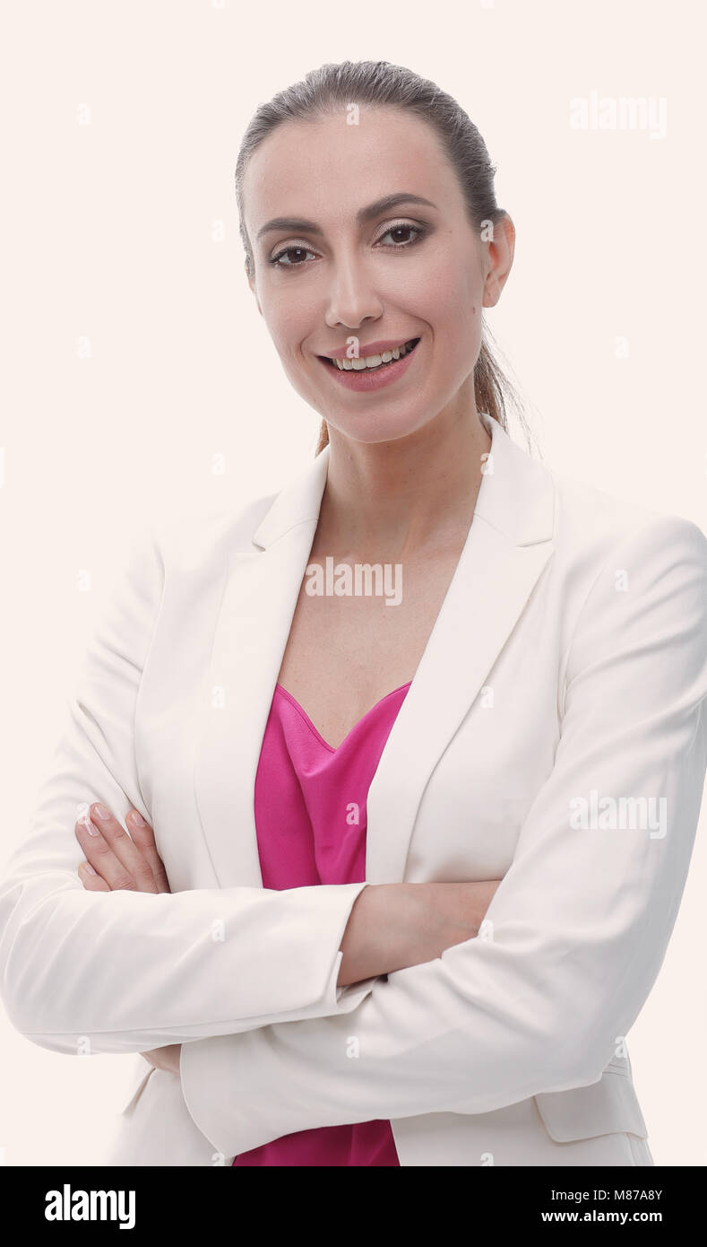 confident business woman looking ahead - Stock Image