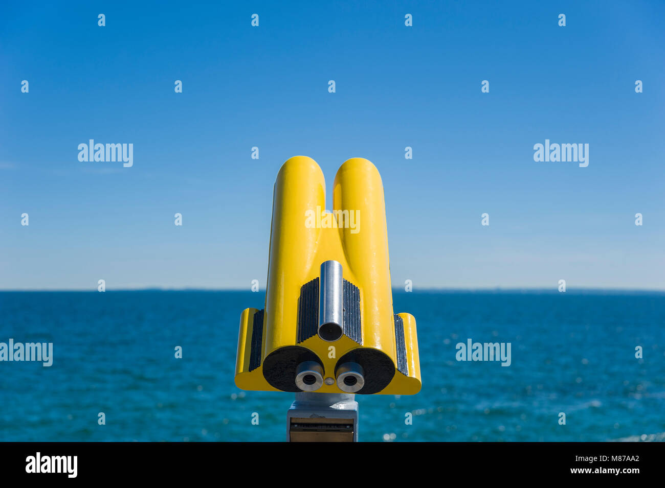 Binoculars at the viewpoint on the pier, Groemitz, Baltic Sea, Schleswig-Holstein, Germany, Europe - Stock Image