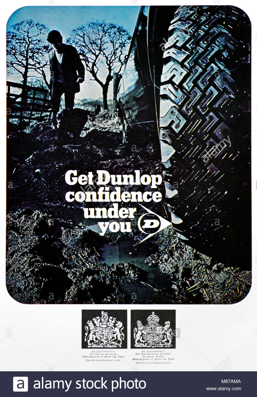 Vintage advertising for Dunlop tyres 1969 - Stock Image