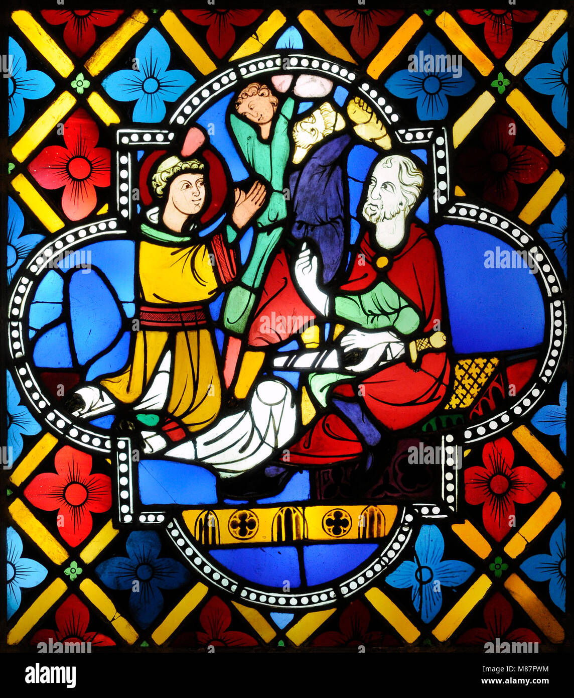 The stoning of Saint Stephen. Cologne, Germany, c. 1280. Stained glass. Schnütgen Museum. Cologne, Germany. - Stock Image