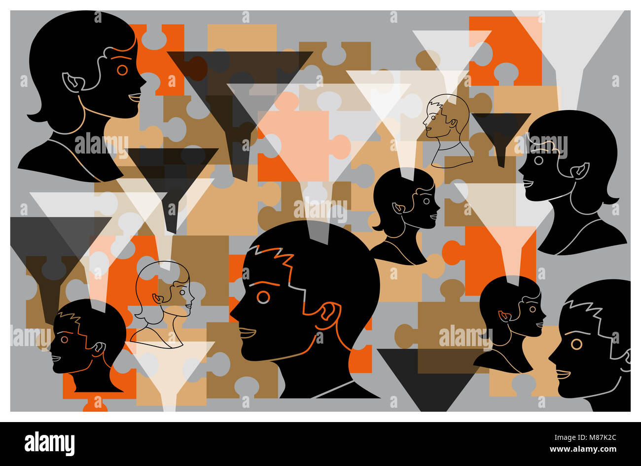 Heads, puzzle pieces and funnels - Stock Image