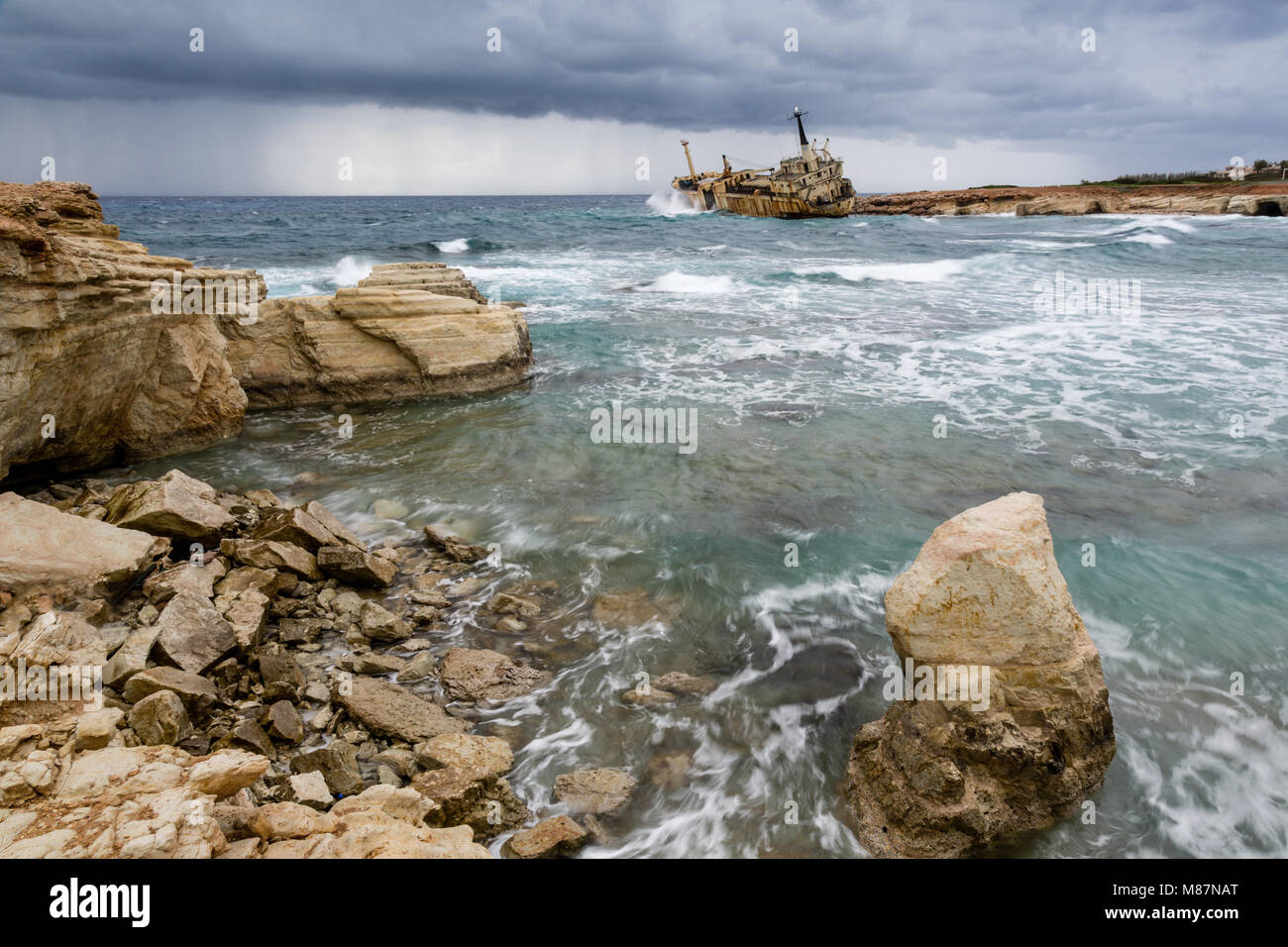 Shipwreck of Edro III at Seacaves, an area of outstanding natural beauty near Coral Bay/Peiya, Cyprus. - Stock Image