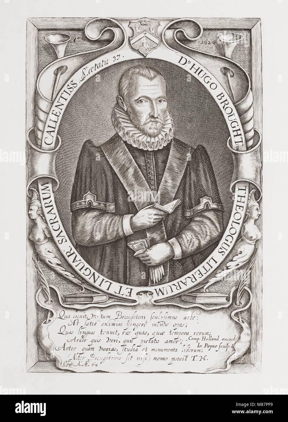 Hugh Broughton, 1549 –1612. English scholar and theologian.  After an engraving by John Payne, c.1607–c. 1647.  - Stock Image