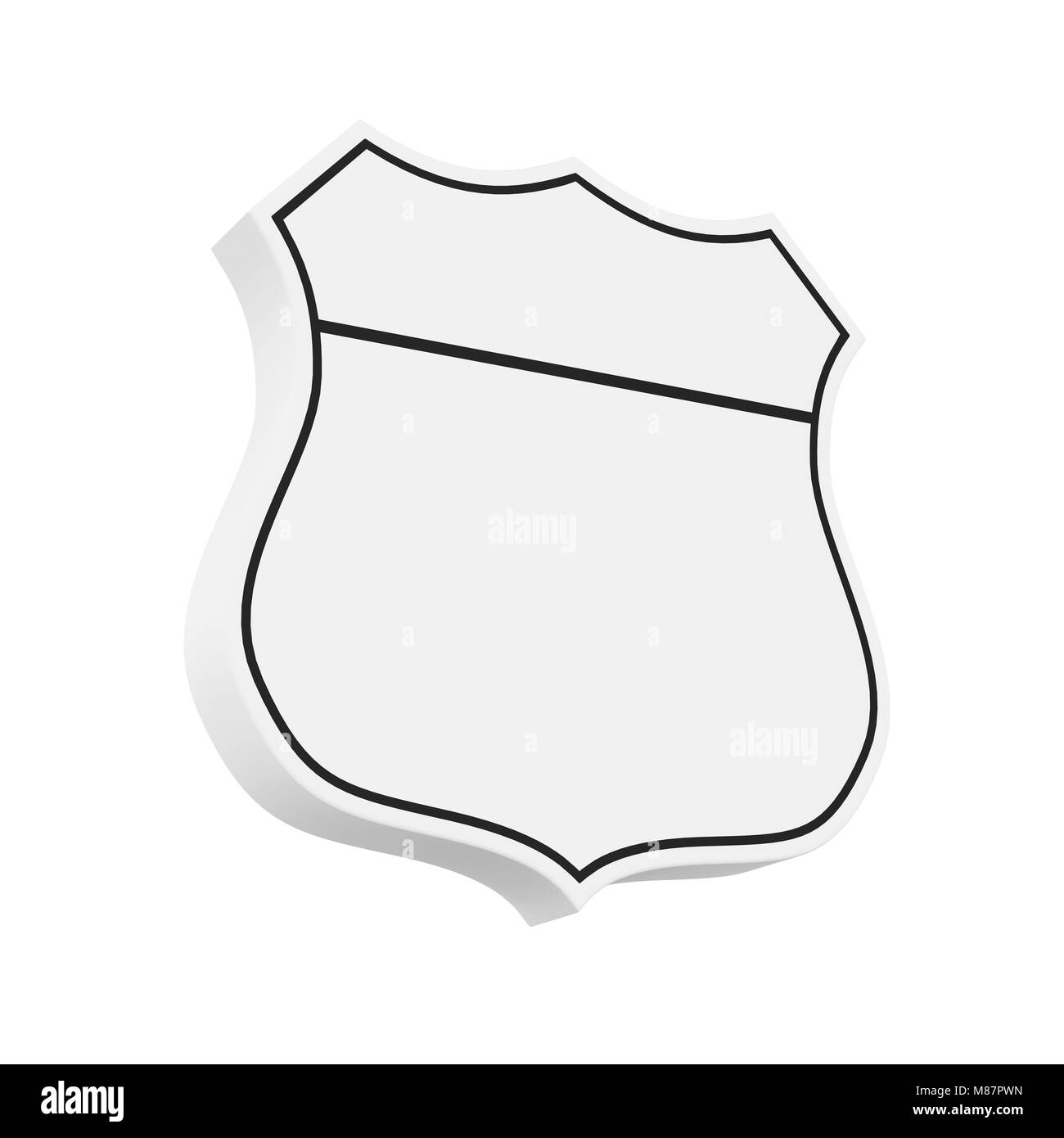 Blank Highway Route Shield Isolated Stock Photo