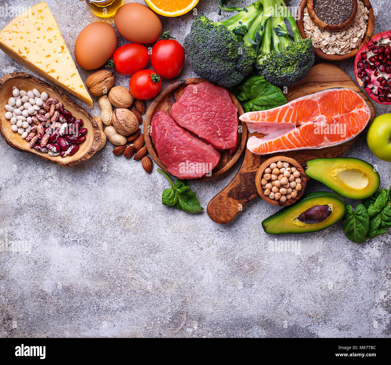 Organic food for healthy nutrition and superfoods  - Stock Image