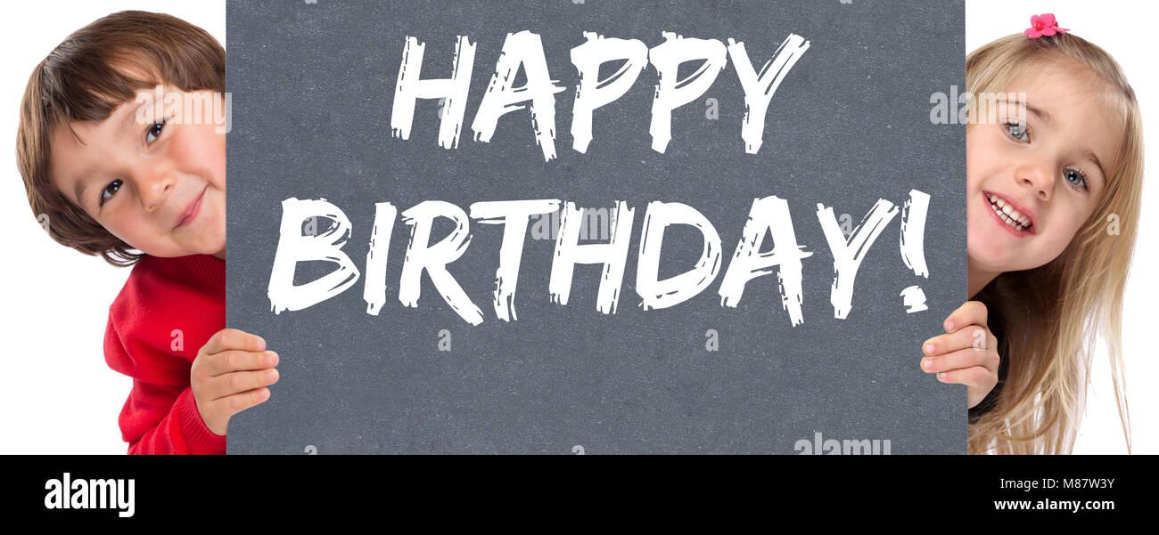 Happy Birthday greetings celebration young children kids boy girl - Stock Image