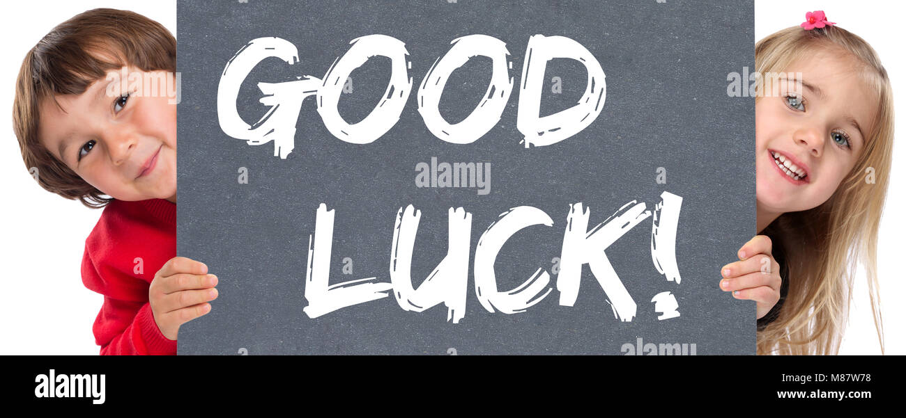 Good luck success successful test wish wishing young children boy girl - Stock Image