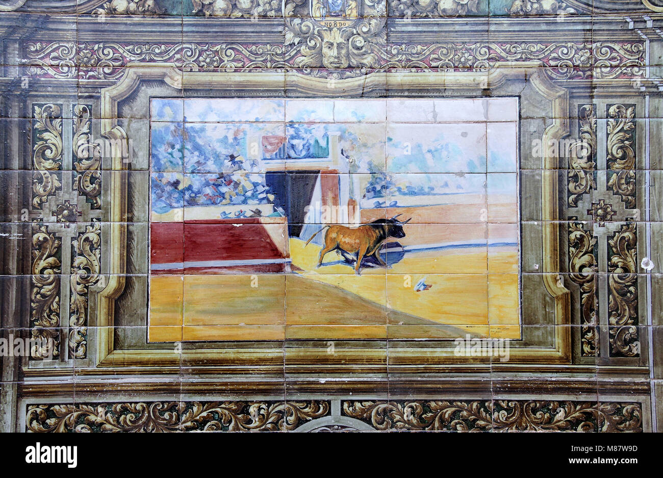 Bullfight artwork at the Alcoves of the Provinces in Plaza de Espana in Seville - Stock Image
