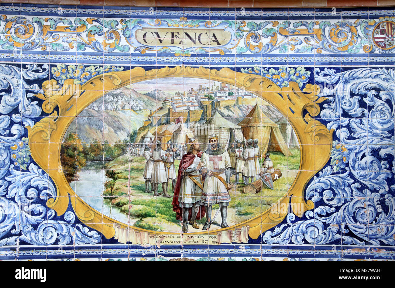 Cuenca depicted at the Alcoves of the Provinces in Seville - Stock Image