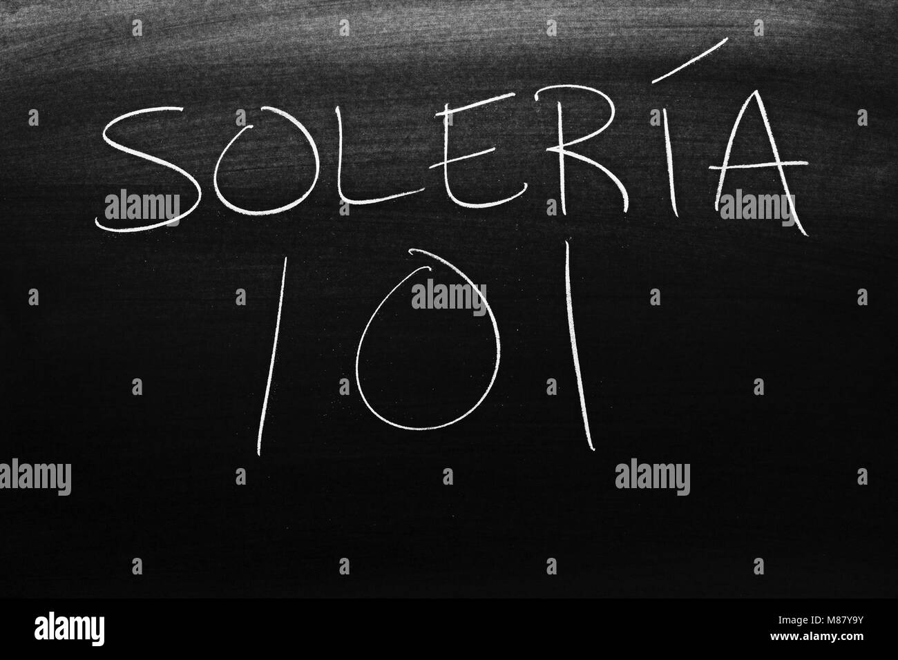 The words Solería 101 on a blackboard in chalk - Stock Image