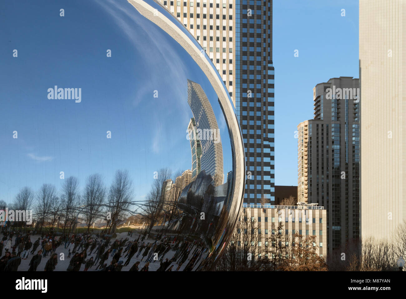 Various modernistic architectural and aesthetic styles are appreciated at Millenium Park in Chicago. - Stock Image
