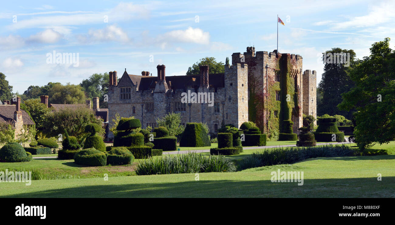 Hever Castle in, Kent, began as a country house,  built in the 13th century. From 1462 to 1539, it was the seat Stock Photo