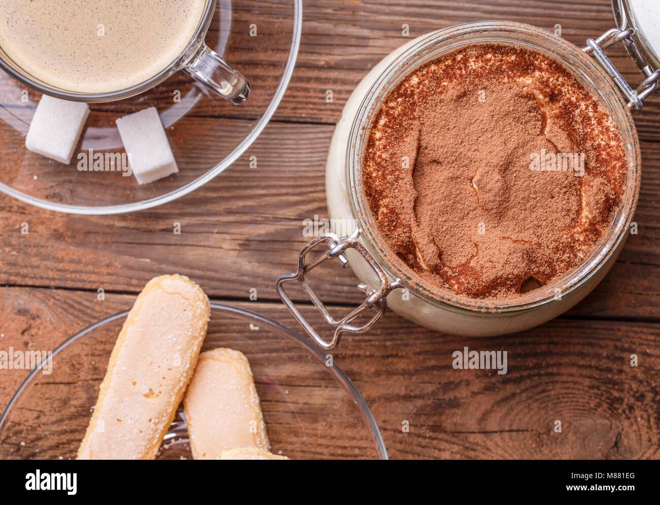 Photography of tiramisu with coffee - Stock Image