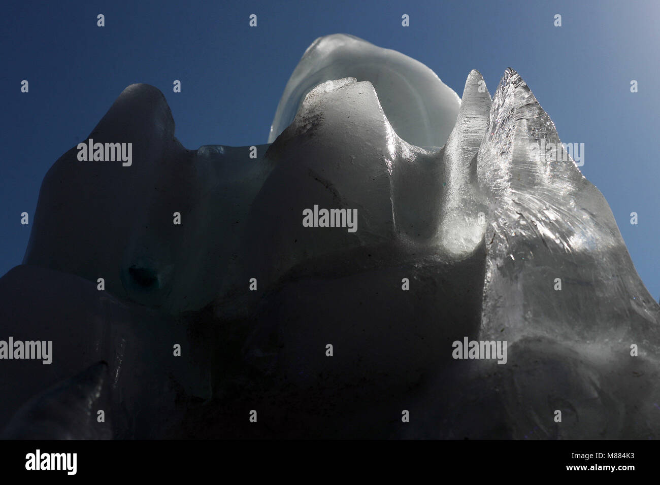 Santiago, Chile. 15th Mar, 2018. A view of a 19 tonnes glacier during the Lollapalooza music festival in Santiago, - Stock Image