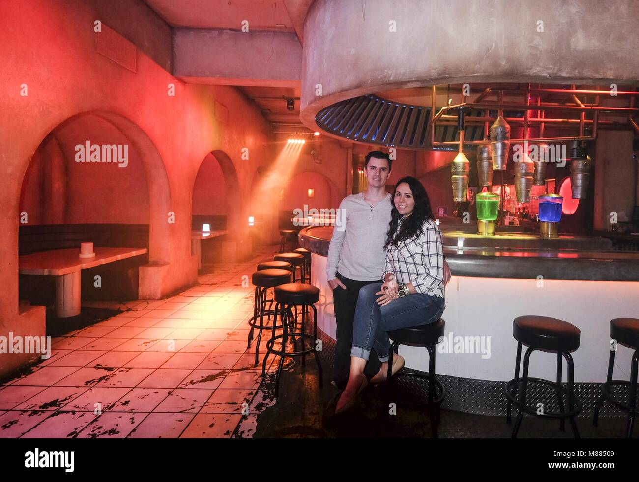 Los Angeles, California, USA. 6th Feb, 2018. J.C. Reifenberg and Jen Smith, owners/managers of Scum & Villainy in Stock Photo