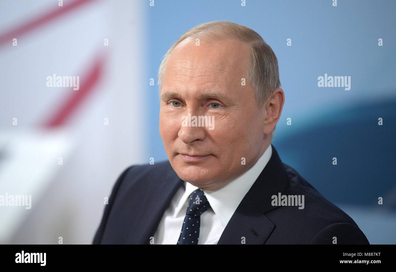 Moscow, Russia. 15th Mar, 2018. Russian President Vladimir Putin during the Russia Land of Opportunity forum March - Stock Image