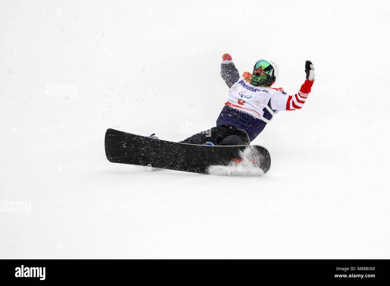 PyeongChang, South Korea. 16th March, 2018. Para Snowboard. Team USA ...