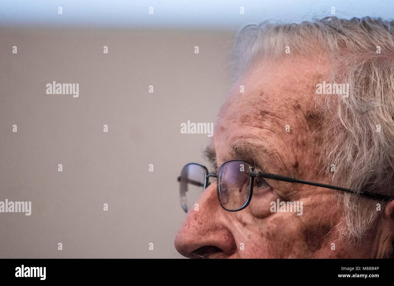 Massachusetts Institute of Technology, USA. 15th March, 2018. Noam Chomsky, offered the conference entitled Gangter - Stock Image