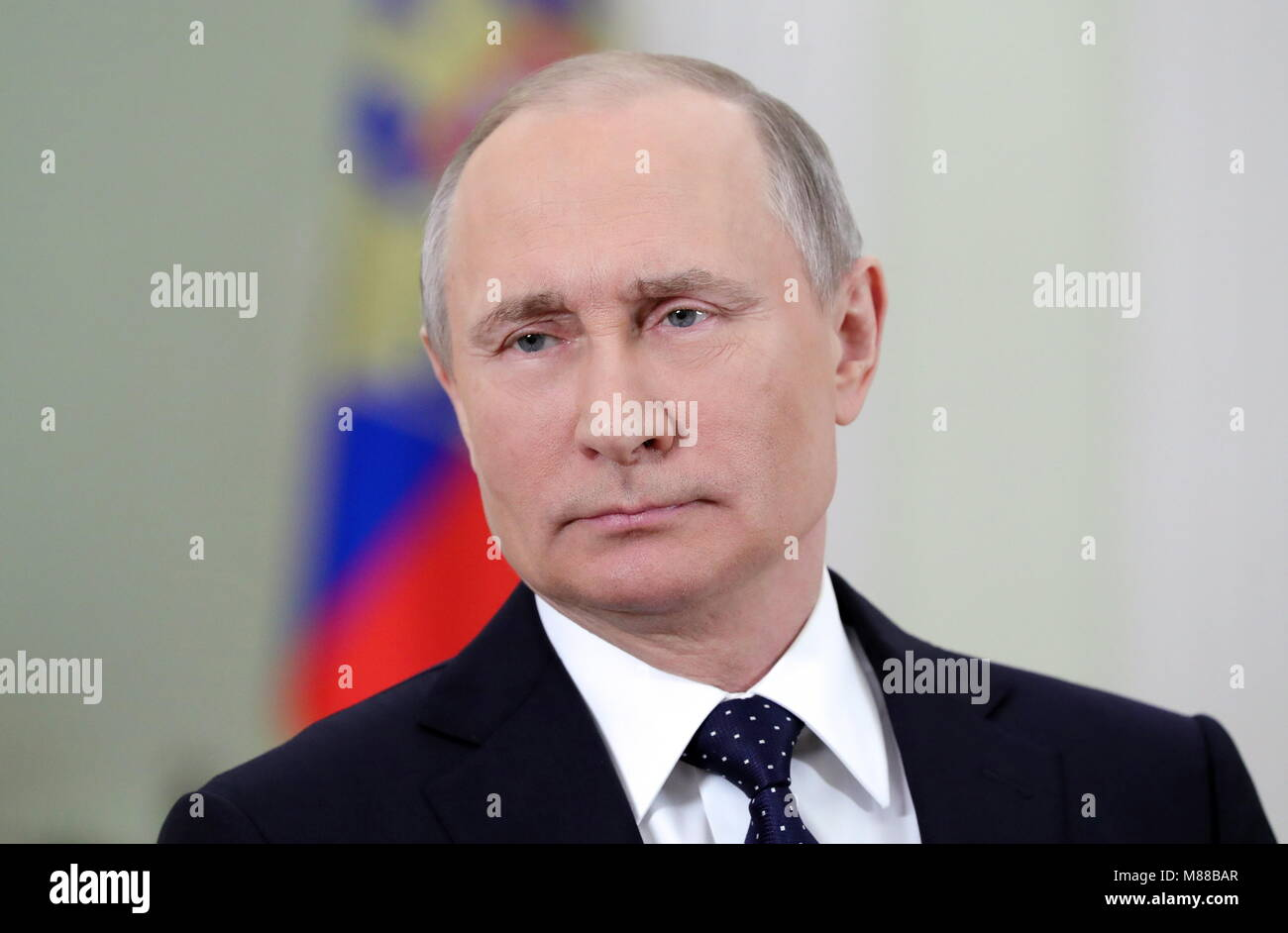 Moscow, Russia. 16th Mar, 2018. MOSCOW, RUSSIA - MARCH 16, 2018: Russia's President Vladimir Putin addresses - Stock Image