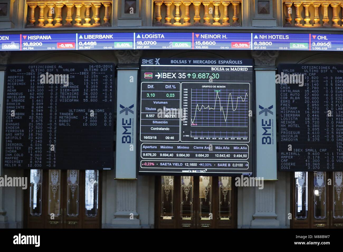 Madrid, Spain. 16th Mar, 2018. An electronic pannel shows the evolution of Spanish market's main index Ibex - Stock Image