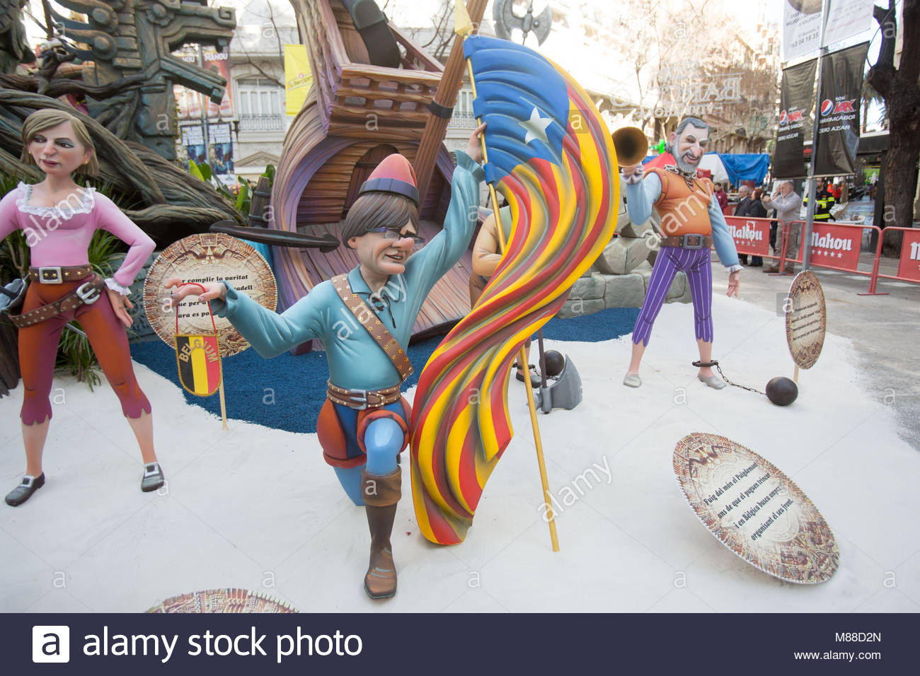 Valencia, Spain, 16th March 2018, A ninot representing  Catalan independence leader Carles Puigdemont in the first - Stock Image