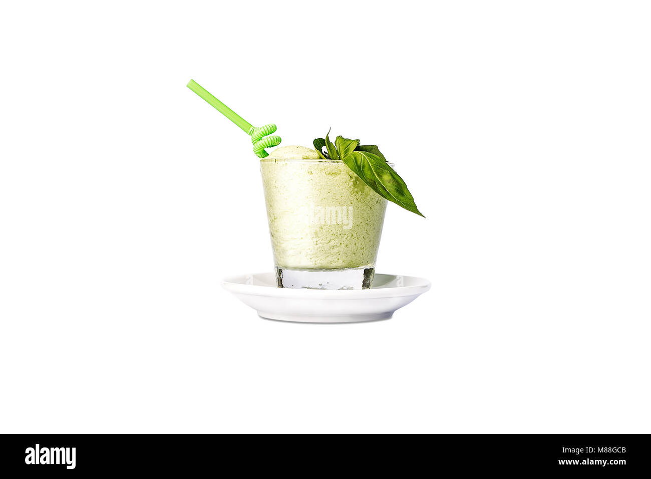 Fresh green apple smoothies with a straw. Stock Photo