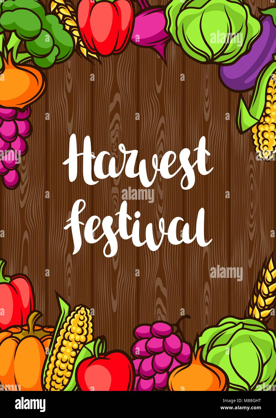 Harvest Festival Poster Autumn Illustration With Seasonal Fruits And Stock Vector Image Art Alamy