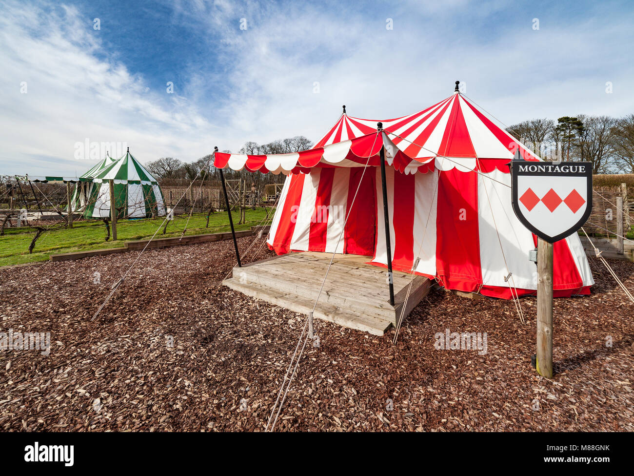Glamping tents at leeds castle, Kent. - Stock Image