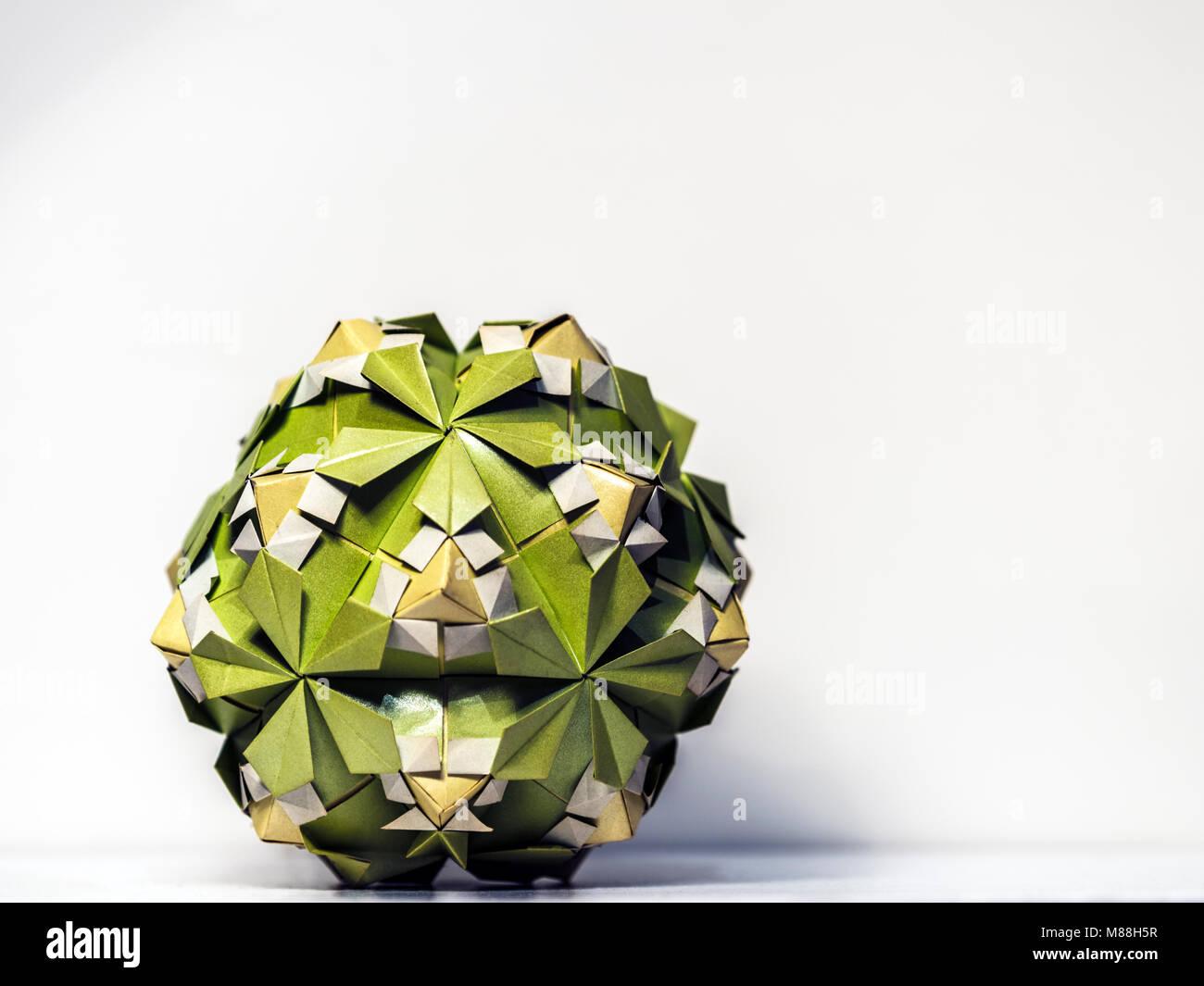 Origami paper polyhedron macro closeup - Stock Image